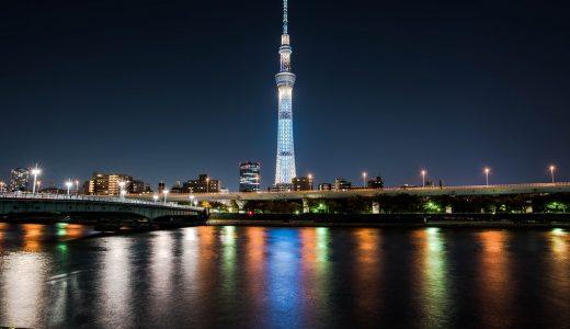 天まで伸びる電波塔!夜の東京スカイツリーをいろんな角度から撮ってみた話。