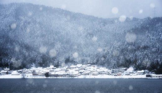 静かな湖畔の雪景色!滋賀県長浜市・余呉湖を撮ってきた話。